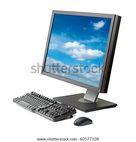 Desktop computer (monitor, keyboard, mouse) isolated - stock photo