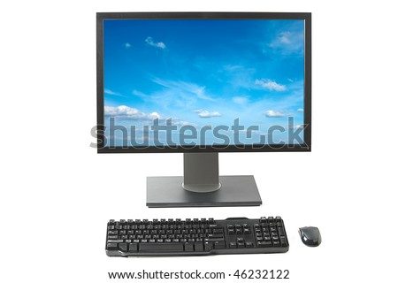 Desktop computer ( monitor, keyboard, mouse) isolated on white background - stock photo
