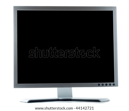 desktop computer screen isolated over white background - stock photo