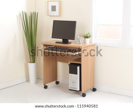 Desktop computer with cpu the important office equipment - stock photo