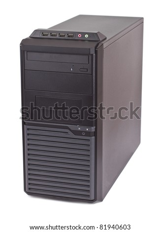 Desktop computer with DVD drive and front side connectors on white background.