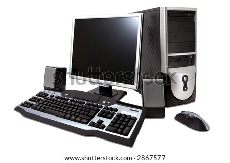 "desktop computer with lcd monitor, keyboard, speaker and mouse, isolated over white. With ""Clipping Paths"" - stock photo"