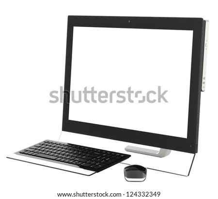 Desktop computer with wireless keyboard and mouse isolated on white background. - stock photo