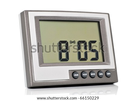 Desktop electronic clock isolated on a white background - stock photo