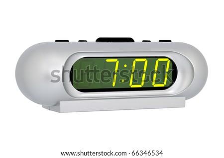 Desktop electronic clock isolated on white background - stock photo