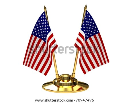 Desktop flagpole with flags of the United States