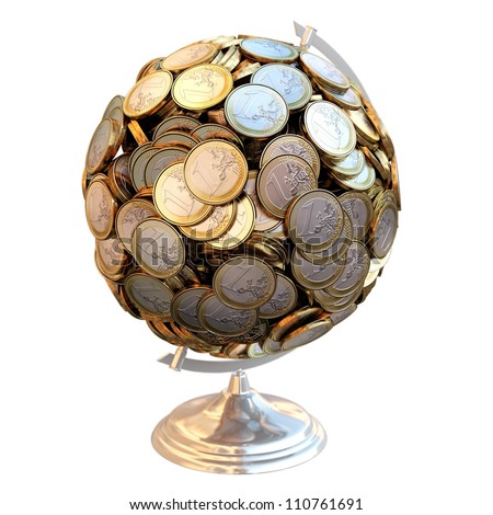 Desktop Globe created out of money. For gifts as a metaphor for success in business isolated on white background (top view version) - stock photo