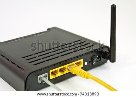 Desktop Home ADSL modem on a white background - stock photo
