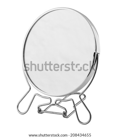 desktop mirror in a metal frame on a white background - stock photo