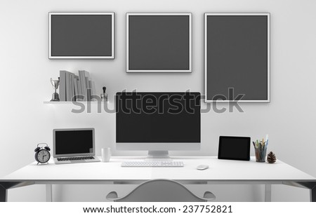 Desktop mock up - easy replace with your screen or design - stock photo