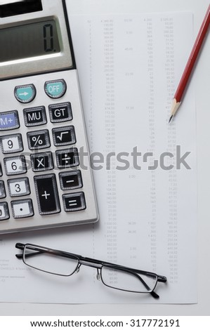 Desktop of the manager at office. Reporting documents with information on statistics. Accounts department of office. Consignment note and account documentation. - stock photo