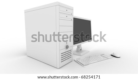 Desktop Pc rendered on white background - stock photo