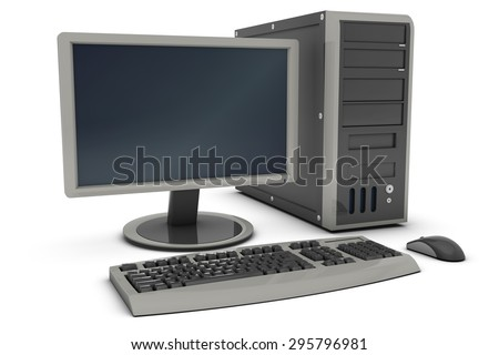 Desktop PC , This is a computer generated and 3d rendered picture. - stock photo