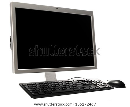 Desktop Personal Computer with Keyboard and Mouse for Home and Office Use,  Isolated on a White Background - stock photo