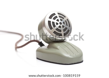 desktop vintage microphone isolated on a white background - stock photo