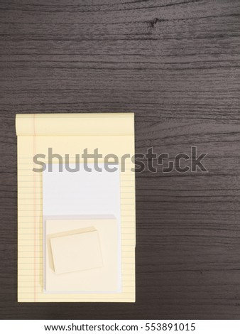 Desktop, White and Yellow Notepad,  Sticky Notes
