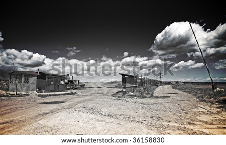 Desolate scene - ruins of abandoned site