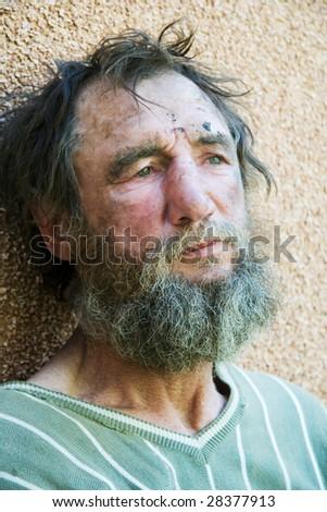 Despair of homeless hobo. - stock photo