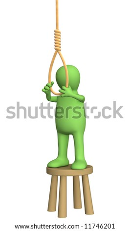 Despaired 3d person - puppet, making suicide. Objects over white - stock photo