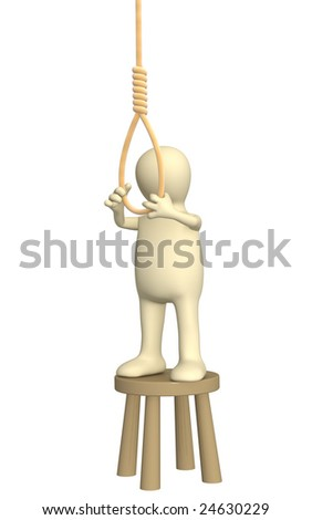 Despaired 3d puppet, making suicide - stock photo