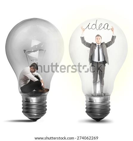 Desperate afflicted businessman suddenly a brilliant idea - stock photo