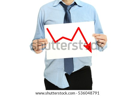 desperate businessman with graph, business failure concept