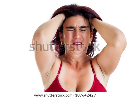 Desperate hispanic woman suffering from a headache or depression isolated on white - stock photo