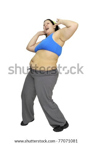 Desperate large girl isolated in white