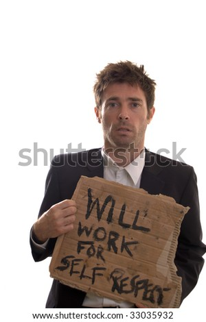 desperate man wanting dignity through employment - stock photo