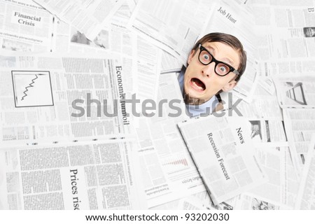 Desperate nerd, financial crisis concept - stock photo