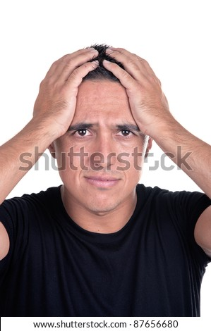 desperate young man on white background - stock photo