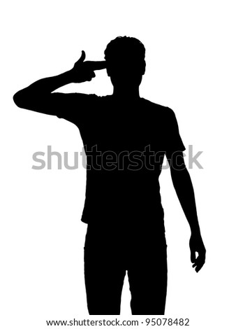 Desperate young man silhouette