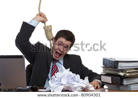 Desperated, stressed employee is doing suizide in office. Isolated on white background. - stock photo