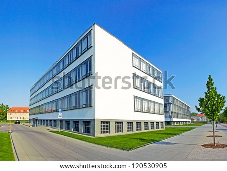 DESSAU, GERMANY - APRIL 23: Bauhaus - complex of modern architecture on April 23, 2011, Dessau, Germany. This iconical piece of architecture was designed in 1925 by Walter Gropius and is in UNESCO