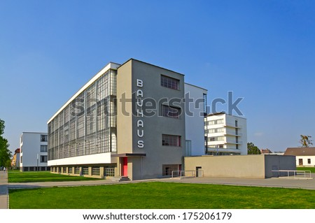 DESSAU, GERMANY - APRIL 23: Bauhaus - complex of modern architecture on April 23, 2011, Dessau, Germany. This iconical piece of architecture was designed in 1925 by Walter Gropius and is in UNESCO. - stock photo