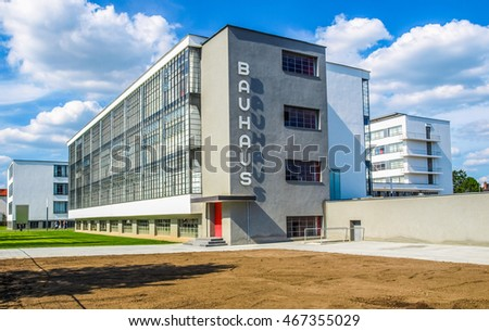 DESSAU, GERMANY - AUGUST 6: The Bauhaus building masterpiece of modern architecture in the Unesco World Heritage List on August 6, 2009 in Dessau, Germany (HDR)