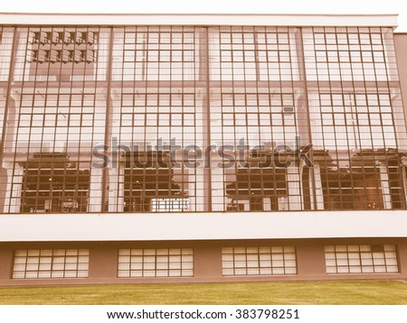DESSAU, GERMANY - JUNE 13, 2014: The Bauhaus art school iconic building designed by architect Walter Gropius in 1925 is a listed masterpiece of modern architecture vintage - stock photo