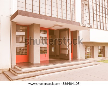 DESSAU, GERMANY - JUNE 13, 2014: The Bauhaus art school iconic building designed by architect Walter Gropius in 1925 is a listed masterpiece of modern architecture, vintage - stock photo
