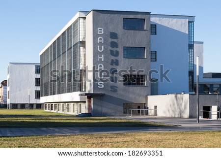 DESSAU, GERMANY - MARCH 12, 2014: Restored landmark Bauhaus building, former home of the school that founded modernism, in Dessau, Germany on March 12, 2014.