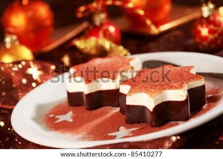 Dessert as Christmas star for Christmas - stock photo
