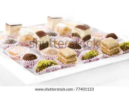 dessert assortment, cookies, cake candy restaurant menu marmalade date - stock photo