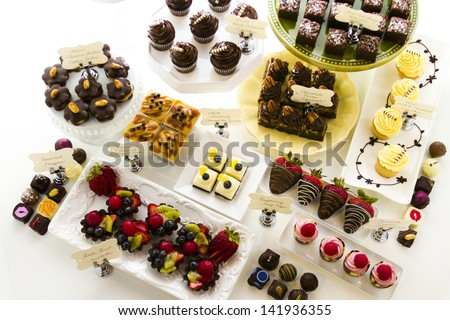 Dessert bar with assorted chocolate sweets.