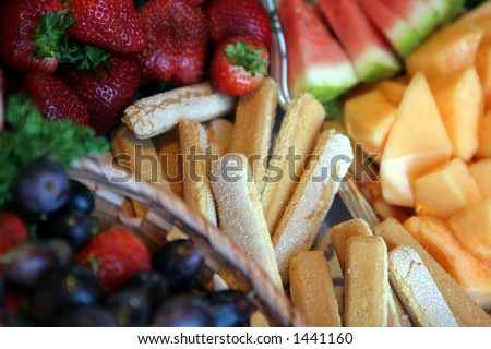 Dessert bar with fruit and wafers. - stock photo