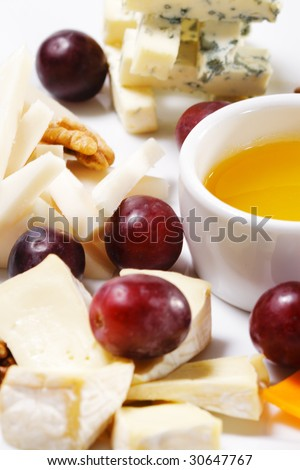Dessert - Cheese Plate with Grapes and Sweet Sauce