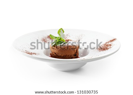 Dessert - Chocolate Cake with Berries Sauce - stock photo