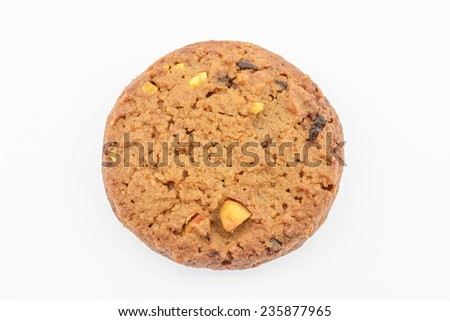 Dessert : Chocolate chips and cashew nut cookies on white background - stock photo