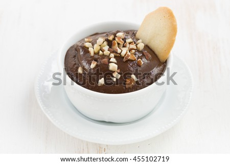 dessert - chocolate mousse with biscuits, close-up, horizontal