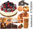 Dessert collage including cakes, fruit, pies, pastry, cookies and more over white. - stock photo
