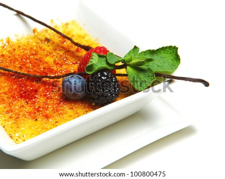 dessert creme brulee - stock photo