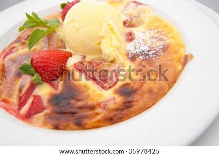 Dessert creme brulee - stock photo